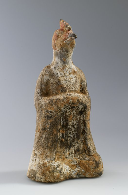 Head of Rooster, zodiacal figure. Representing God of the Constellation Mao, grey earthenware with white ground, painted with flesh-coloured pigments. Daoist symbol for the Principle 'The Gentle; Wind' (sun) see cat. card for better description.