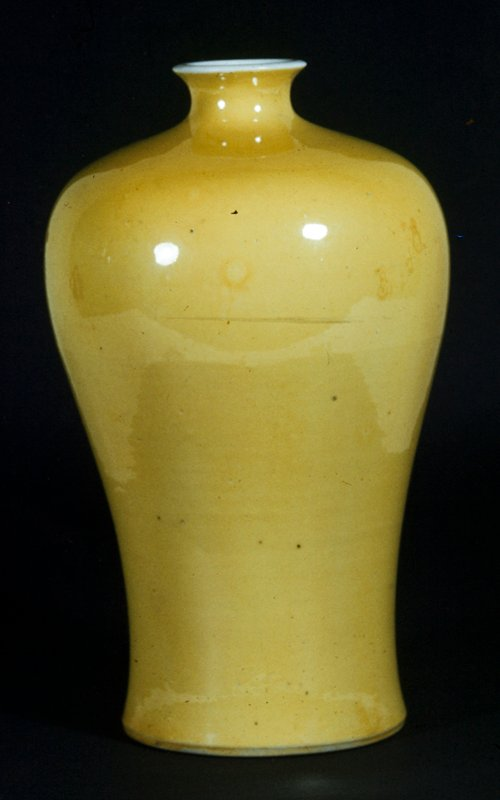 Gallipot, canary yellow. Overglaze technique using yellow enamel.