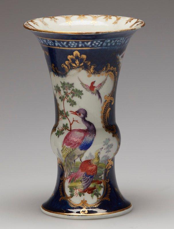 Vase/lid, ceramic-porcelain, English, XVIIIc (56.25.6.5) garniture of 5 vases; NO DIMS ON CAT. CARDS