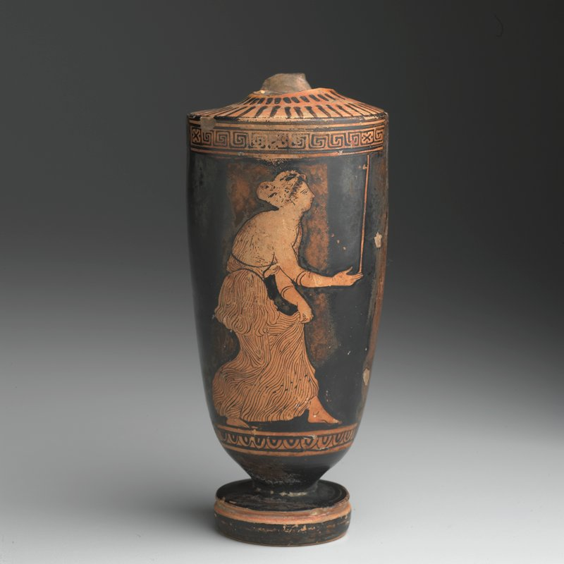 Vessel (vase/Lekythos), ceramic, Greek, V Century B.C. cat. card dims H. 6-1/2', W. 2-3/4' In the Manner of the Meidias painter