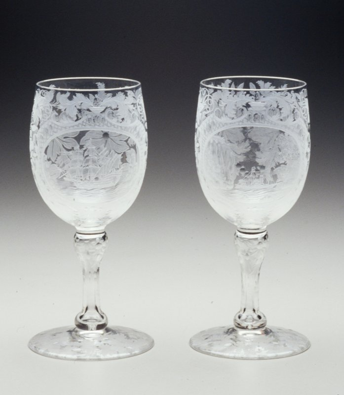 Goblet, one of a pair engraved with medallions inclosing ship motifs; cat. card dims H 8-3/4'