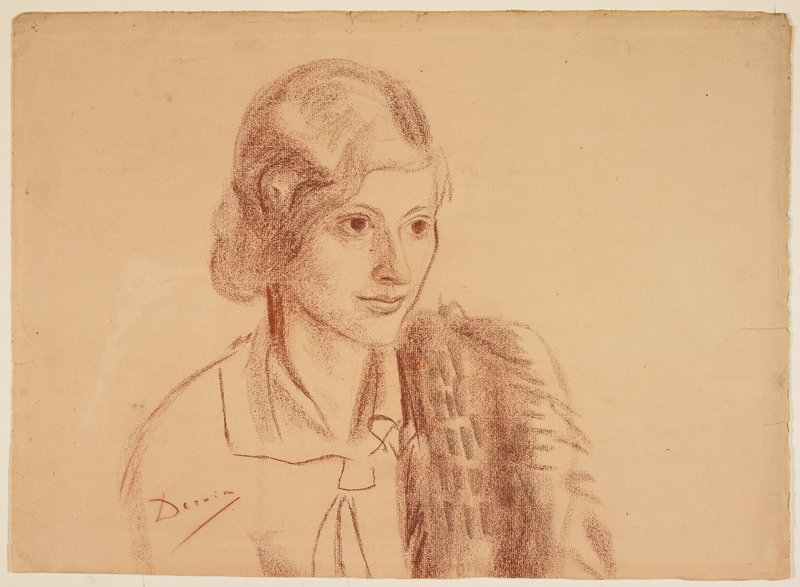 Head and shoulders of a 20ish woman in a blouse with something, perhaps a shawl or wrap, over proper left shoulder