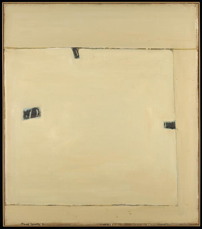 cream colored painting with linear divisions and three small dark patches in the central square