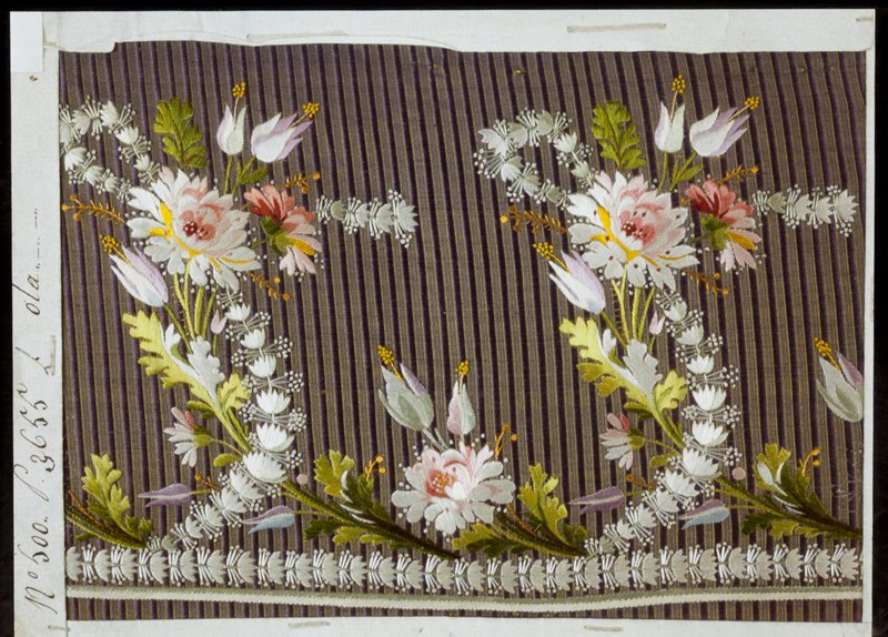 Sample of material for men's vests. Ribbed lavender silk, embroidered with sprays of flowers in green, beige, red, pink and yellow.