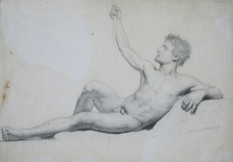 study verso, reclining male nude, academic study