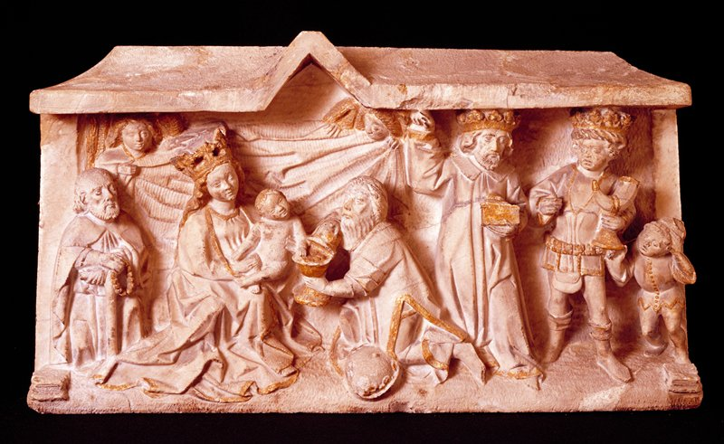 'Adoration of the Three Kings', alabaster with gilt relief; stored lying on its back.