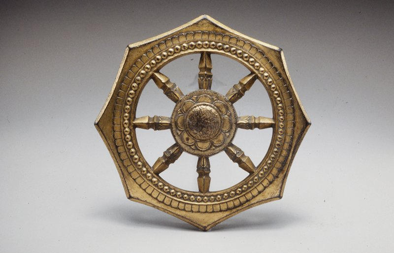 Wheel of the Law, Buddhist (shingon sect.) gilded bronze