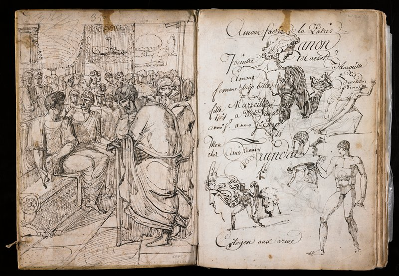 Forty-seven pages with drawings on front and back covers; bound in vellum