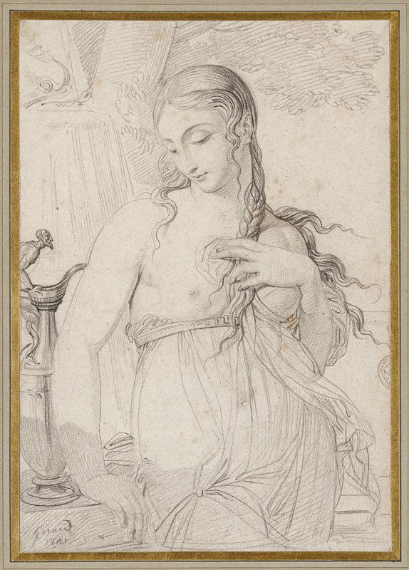 woman leaning on table looking down with garment belted below exposed breasts
