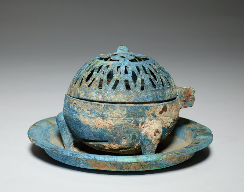 footed incense burner, saucer base, pierced cover, bronze, blue patina.