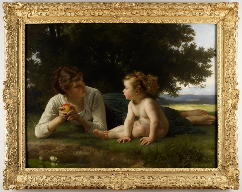 Mother and child seated in field with tree in background and water in foreground. The mother holds an apple in her hand