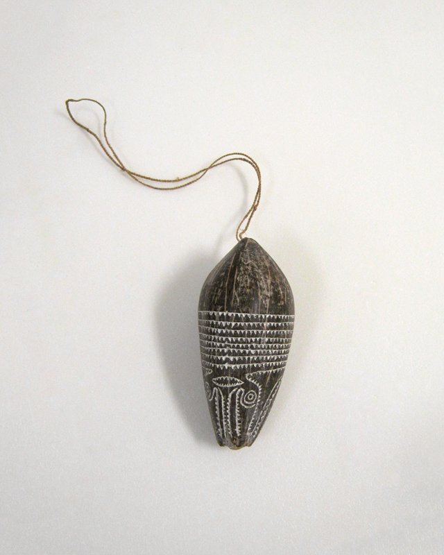 pig hunting charm, carved fruit nut, New Guinea (Papuan Gulf), card dims L 4-1/2'