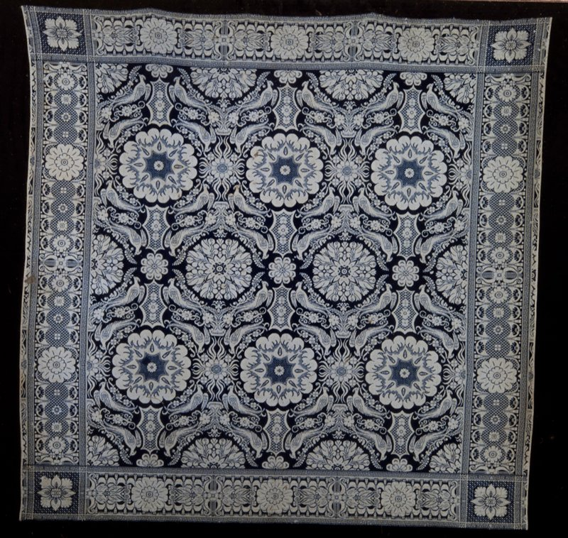 blue and white jacquard coverlet, wool, American