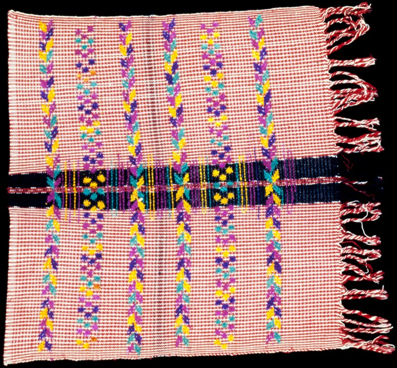 fabric piece; red and white stripes with multicolored discontinuous supplementary weft striped design; 3 selvages, one fringed edge