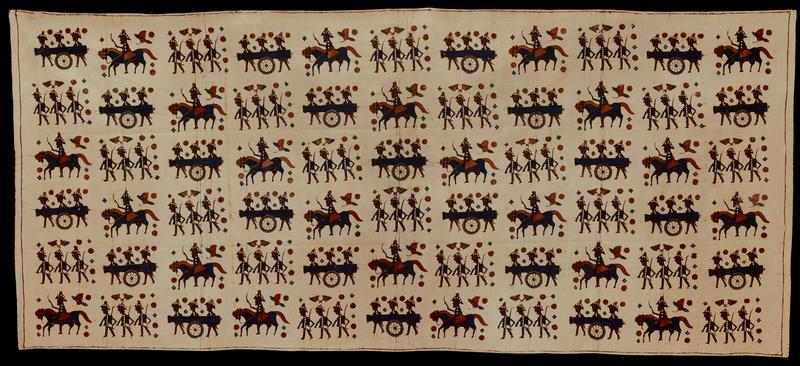 batik fabric piece; brown and blue pattern on beige, showing Europen soldiers on horseback