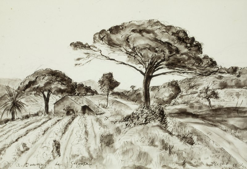 one large tree and two smaller ones in a landscape