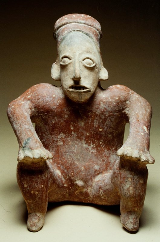 seated male figure, hands held up to raised knees, earthenware with red slip, West Mexico, Jalisco, 200-650AD