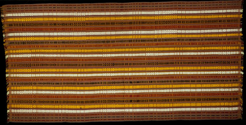 Kira, Mensi Mattha; silk striped brocade on silk background; L.101 in., W.49 in. 3 panels, yellow, green, red, white supplementary warp pattern on multicolored stripes; fringed.