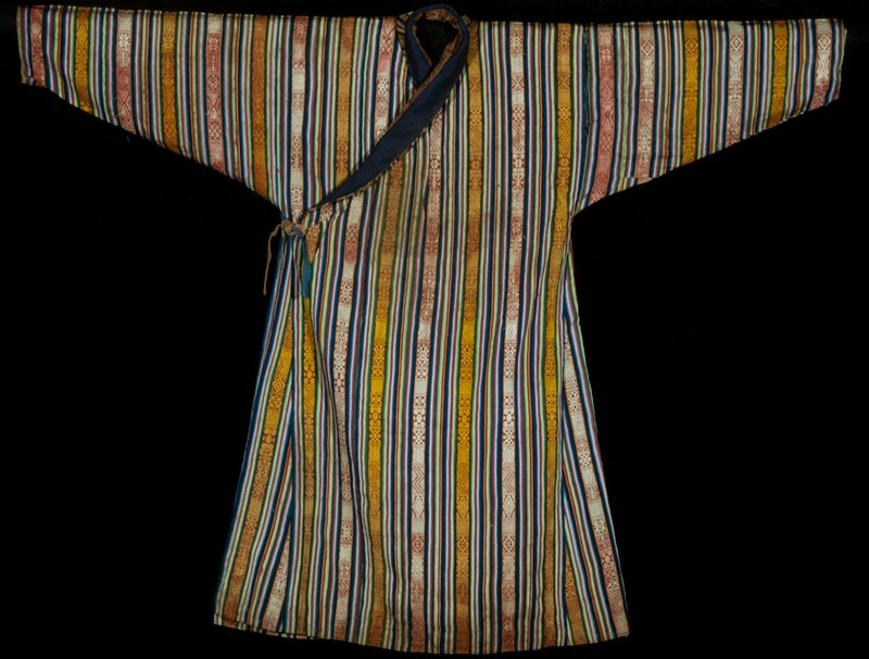 Kho, man's dress piece; silk, cotton; vertical multicolored warp-face stripes alternating with supplementary warp-patterned bands; lined with cotton plaid