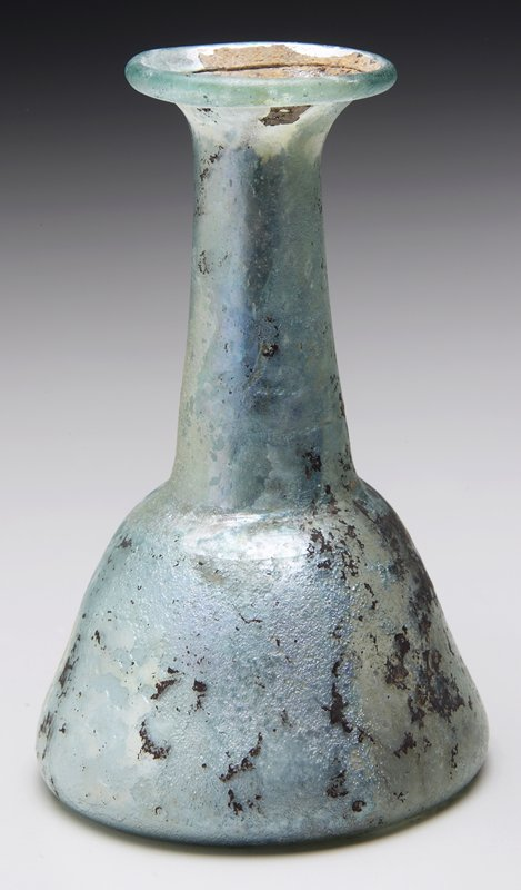 flask with blue patina