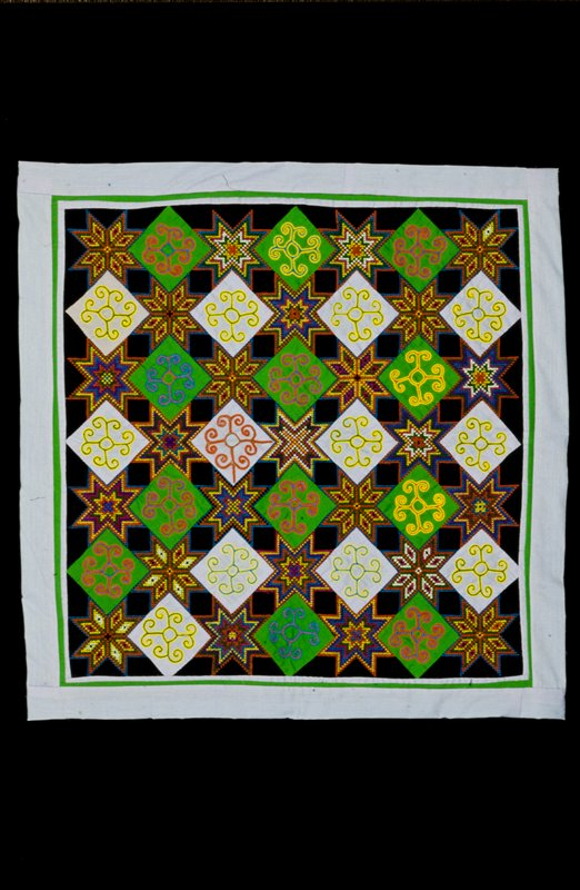 panel, cotton with cross stitch embroidery and applique work.