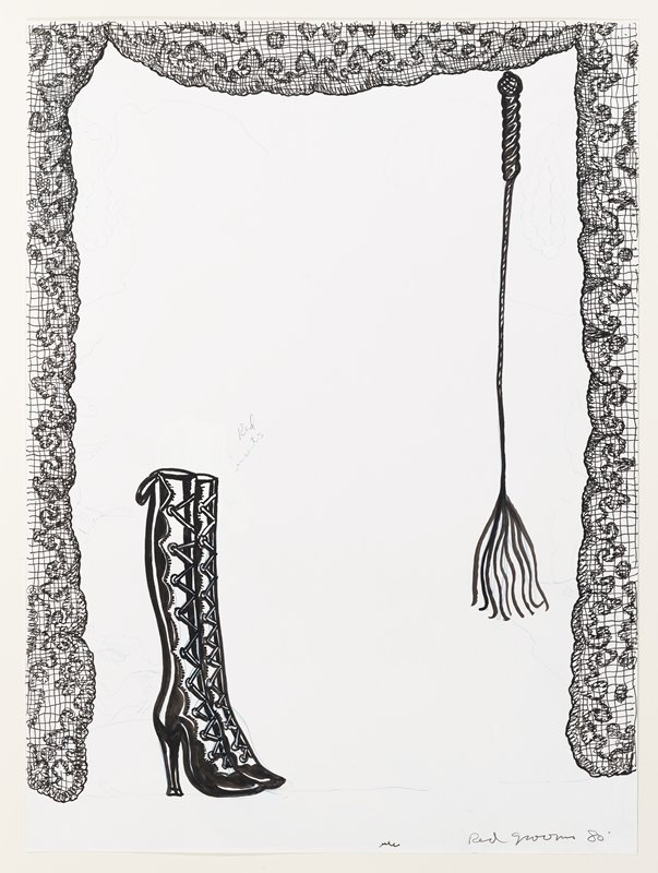 Pair of knee-high, lace-up boots on L; hanging whip on R; curtain skirt around borders; other nondescript images in light blue graphite throughout