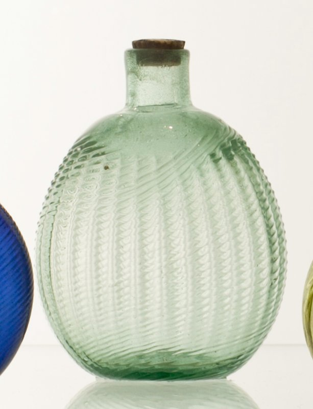 Pitkin flask, 30 ribs, broken swirl, foamy light aqua with blue overtones, Midwestern; bottle and dishes from Ohio Manufacturers, 159 items in all, from the Walter Douglas Collection in Centerville, Ohio