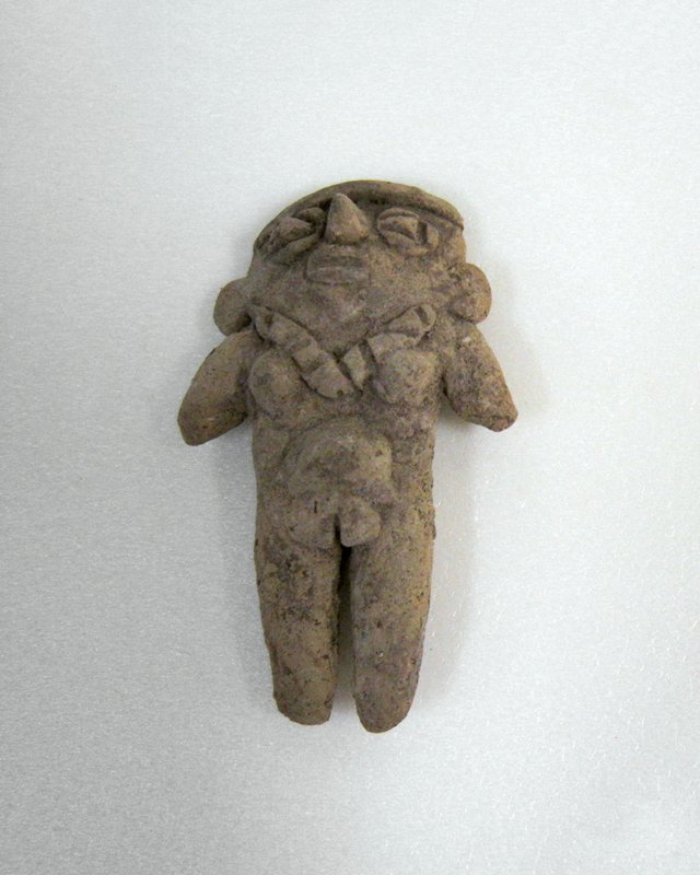 Standing Female Figure with diamond eyes, single strap headband, necklace, flat small earplugs, beige clay