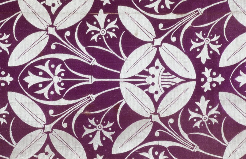 purple and cream lampas