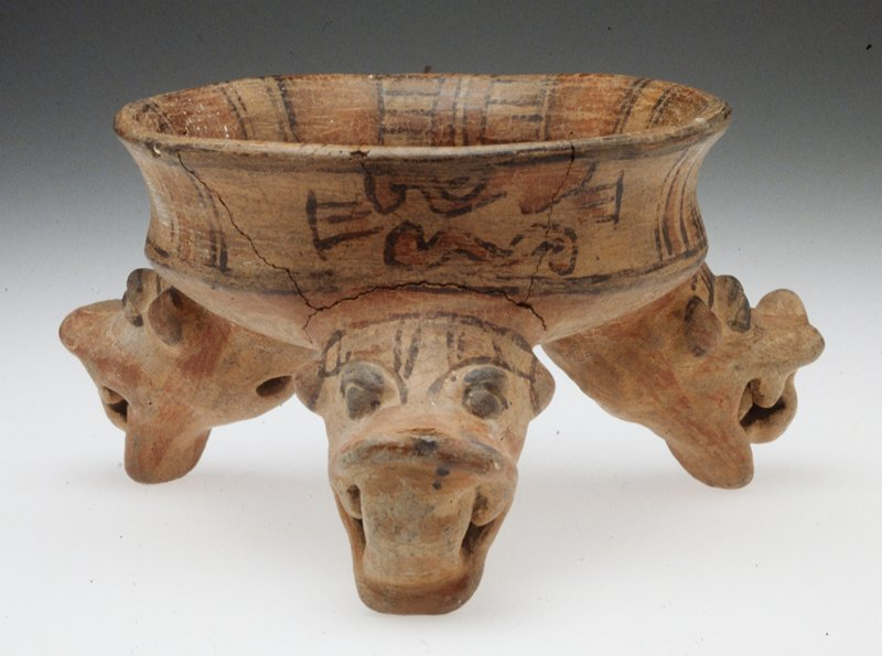 tripod serpent bowl, ceramic (terra cotta), Costa Rican (Nicoya-Guanacaste), 1000-1500AD; acquired in Managua, Nicaragua prior to 1959 by donor; animal heads used as tripod feet lack portions of noses; one tripod is completely repaired
