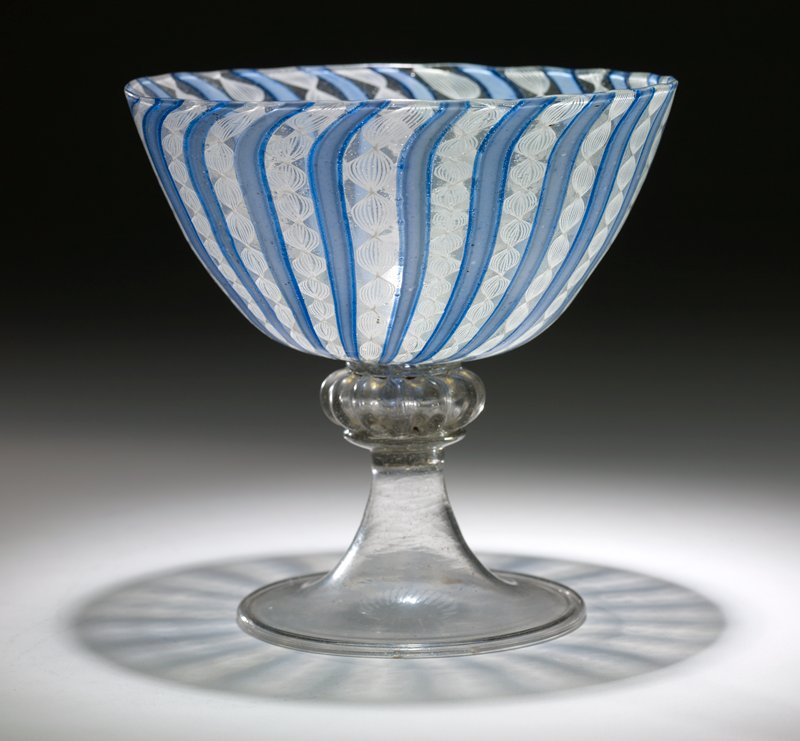 goblet, glass, facon de Venise or Venetian filigree, colorless lead glass with latticino decoration, late XV c.