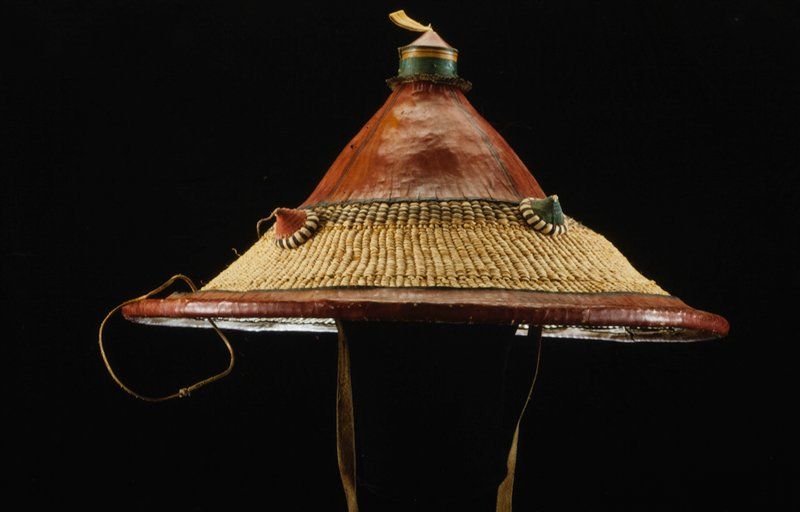 hat, basketry base, leather decoration
