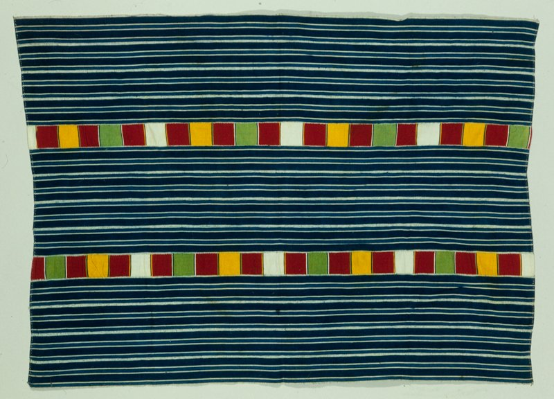 panel, striped blue and white strip cloth with two checked insets checks of white, red, gold, green; cotton