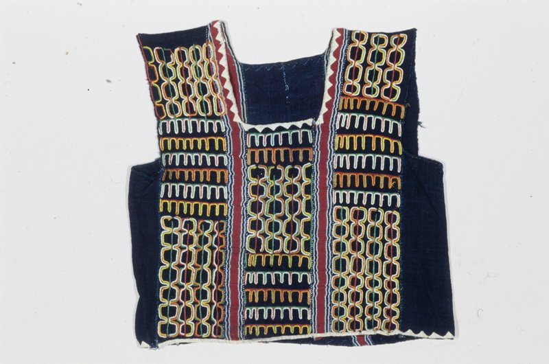 vest, alternating indigo-dyed strip cloth and striped strip cloth, embroidered and appliqued; cotton