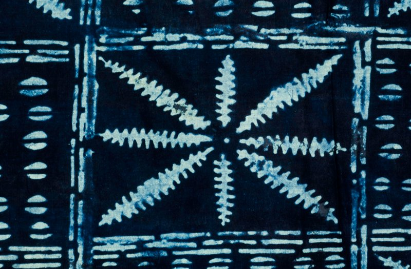 indigo block-resist patterning on sheeting cloth.