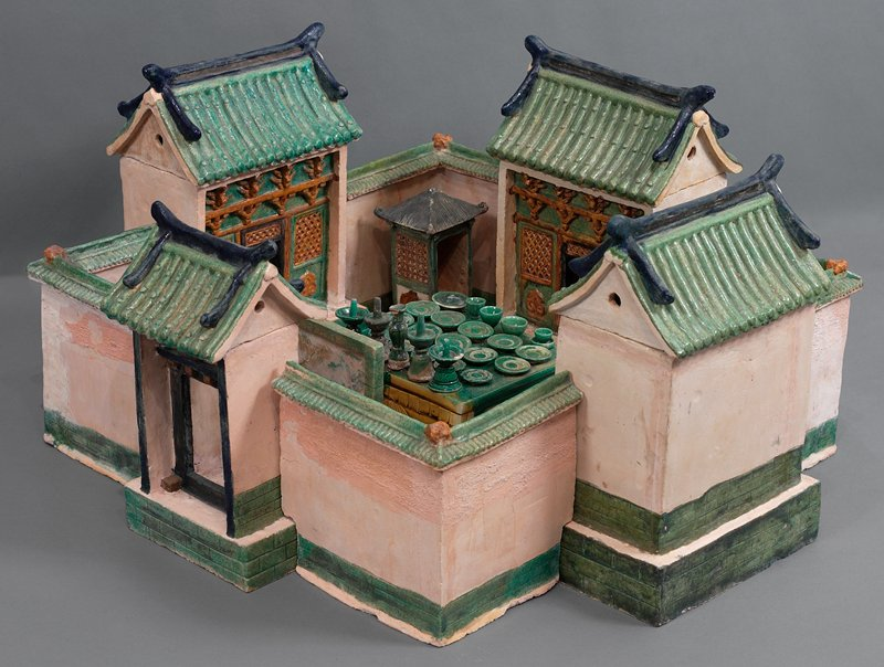 food plate (eggplants?) from wedding procession; three color glazed ceramic; one set of 33 pieces, including wedding party, palanquin, wedding chests, ceremonial food and wedding party