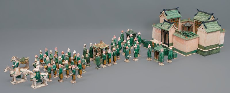 bride's male relative from wedding procession; three color glazed ceramic; one set of 33 pieces, including wedding party, palanquin, wedding chests, ceremonial food and wedding party
