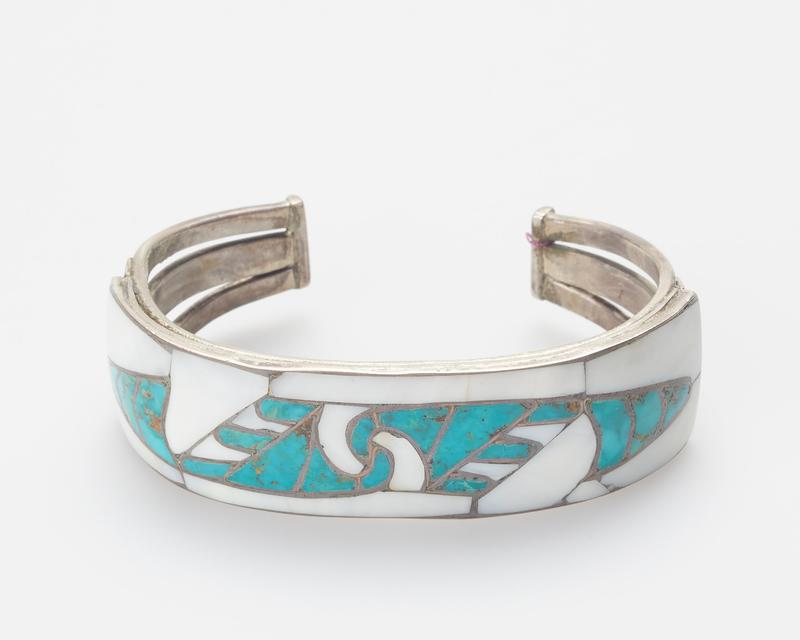 Zuni. Three sheet silver bands set with abalone and Fox turquoise inlay mounting; applique and stamped decoration J.#320, Cat.#364