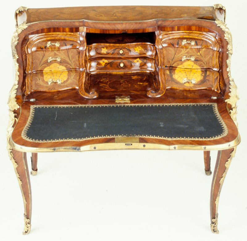 Bureau de Dame, Jean Gaspard Feilt, kingwood, oak, marquetry, gilded bronze mounts, French XVIII listed on cat. card as Louis XV Lady's Writ- ing Desk; Dims 38-1/4 x 41-1/2 x 23-1/2'; 6/88: a-desk; b-j-drawers; k-l lower drawers; key