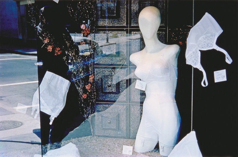 store window and mannequin with lingerie, Providence