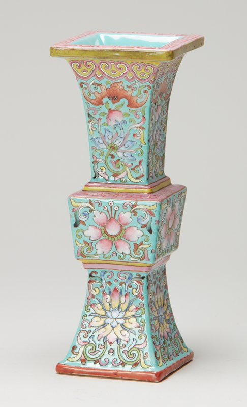 turquoise ground, floral decoration in enamel colors