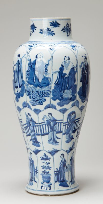 ceramic, glaze; wooden base