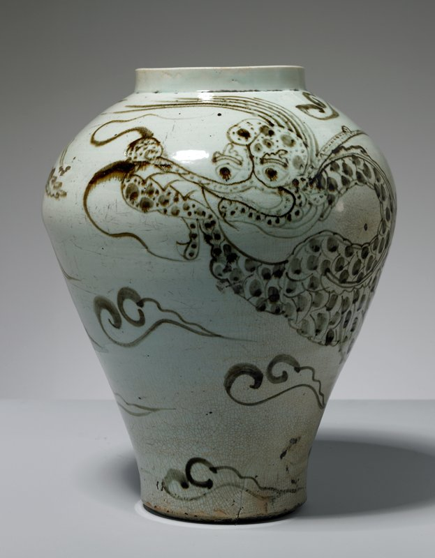 jar, stoneware with underglaze iron-brown dragon motif
