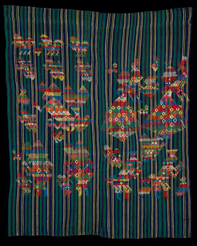two 4 selvage pieces sewn together in discontinuous supplementary weft patterning; irregularly striped ground of green, blue, white and yellow with multicolored imaginative figures in diamond shaped patterns