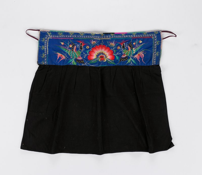blue, black, grey cotton, with embroidered floral panel