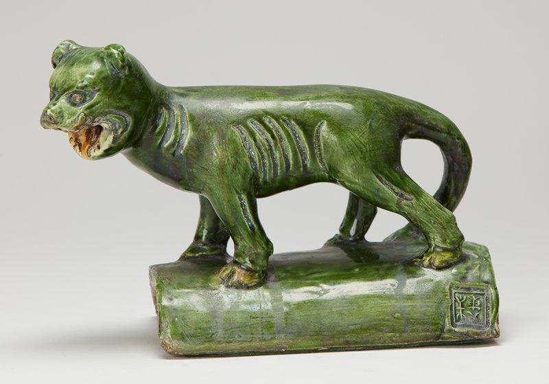 large walking cat, green glaze, impressed marks