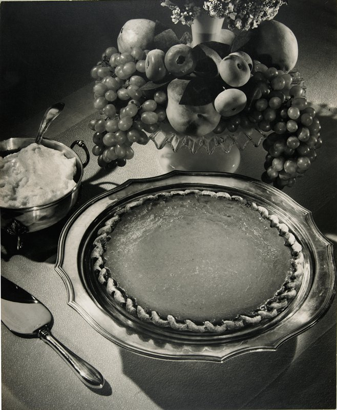 pumpkin pie and fruit; black and white