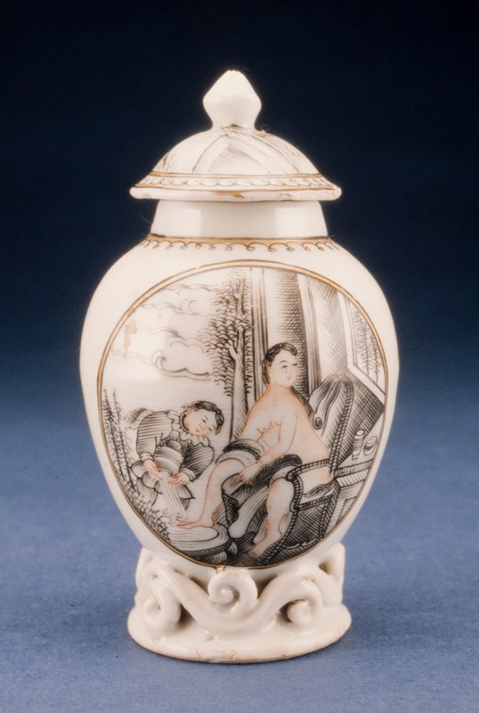 covered jar, ceramic, scene of a lady bathing in black and gold on white ground, Chinese Export XVIIIc (82.110.12ab)