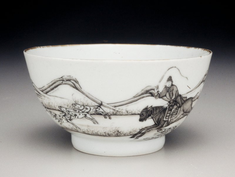 teacup, ceramic, Chinese Export; fox hunt scene in grey on white ground