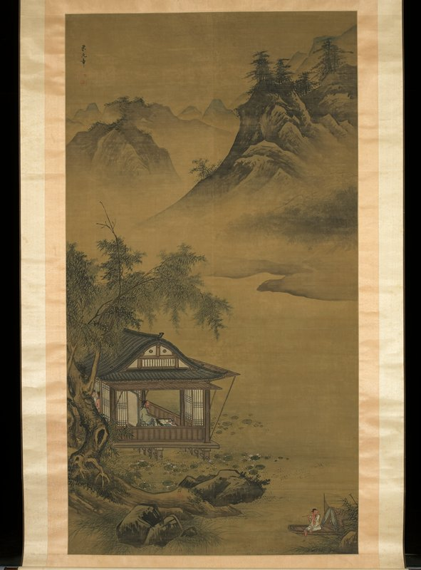 fisherman riding on a boat and playing a flute at lower right corner; three people inside a building just below center at left edge; mountains in background